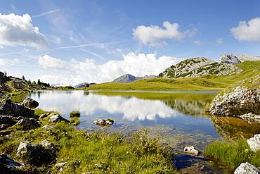 Landscape at Lake Valparola, Alta Badia, Dolomites, South Tyrol, Italy