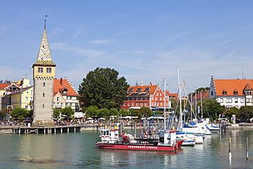 Mang tower at the harbour of Lindau, Lake Constance, Swabian, Bavaria, Germany, Europe