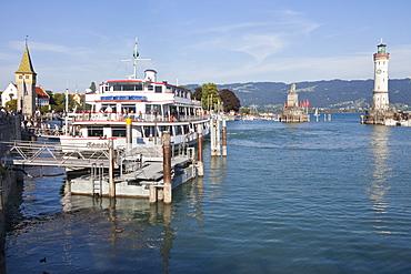 Lighthouse and Mang tower at Lindau harbour, Lindau, Lake Constance, Swabian, Bavaria, Germany, Europe