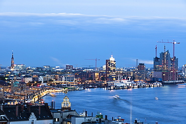 Cityscape with river Elbe in the evening, Hamburg, Germany