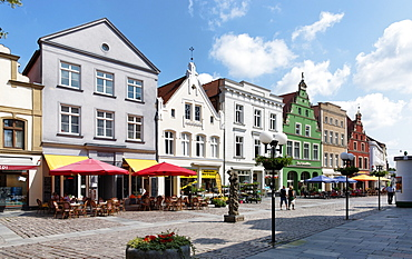Market square with gabled houses, Guestrow, Mecklenburg-Western Pomerania, Germany