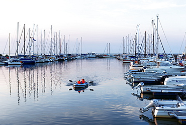 Yacht port at sunset, seaside resort of Kuehlungsborn at the Baltic Sea, Mecklenburg-Western Pomerania, Germany