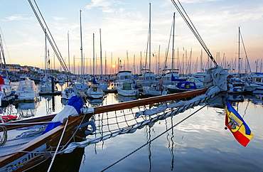 Yacht port at sunset, Seaside resort of Kuehlungsborn, Baltic sea, Mecklenburg-Western Pomerania, Germany