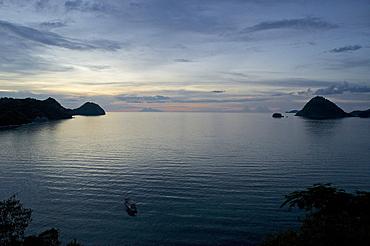 View above the harbour towards Gunung Api North of Komodo National Park, Labuhanbajo, West Flores, Nusa Tenggara, Lesser Sunda Islands, Indonesia, Southeast Asia, Asia