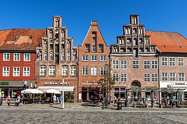 Gabled houses, Am Sande square, Lueneburg, Lower Saxony, Germany