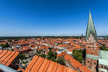 Cityscape with St. John's Church, Lueneburg, Lower Saxony, Germany