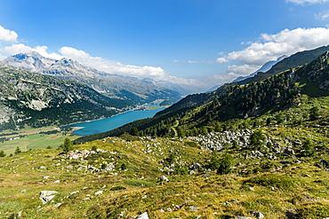 View over Lake Silvaplana and Silvaplana, Upper Engadin, Canton of Graubuenden, Switzerland