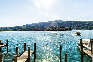 View over Lake Orta to Isola San Giulio, Orta San Giulio, Piedmont, Italy