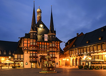 Town hall at night in Wernigerode, Harz, Saxony-Anhalt, Germany, Europe