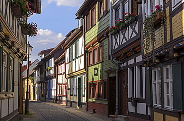 Half-timbered houses, Kochstrasse in Wernigerode, Harz, Saxony-Anhalt, Germany, Europe