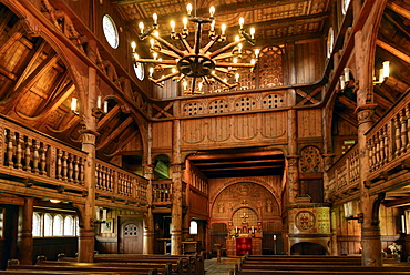 Interior of Stave church in Hahnenklee, Harz, Lower-Saxony, Germany, Europe