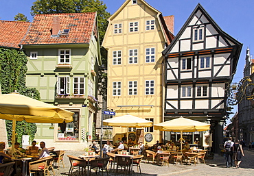 Half-timbered houses and cafe at Hoken, Quedlinburg, Harz, Saxony-Anhalt, Germany, Europe
