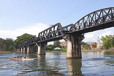 Legendary bridge over the river Kwai, Kanchanaburi, Kanchanaburi Province, Thailand, Asia