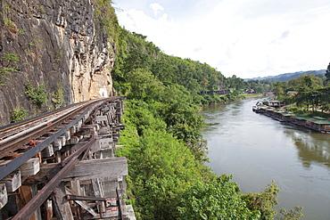 Railway line along the river Kwai, Kanchanaburi, Kanchanaburi Province, Thailand, Asia