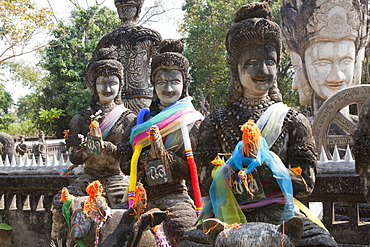 Buddhistic sculptures in Sala Kaeo Ku Park near Nong Khai at the Mekong River, Isan region, Northeast of Thailand, Asia