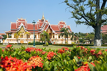 Pha That Luang Temple in Vientiane, capital of Laos, Asia