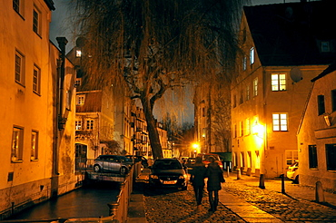 In the evening in the old town, Augsburg, Swabia, Bavaria, Germany
