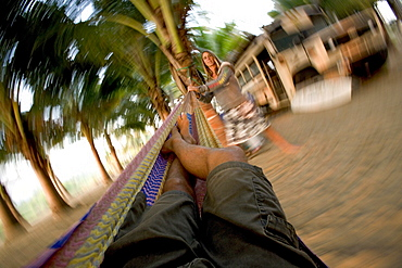 View from the hammock, pushed by a woman, Ticla, Michoacan, Mexico