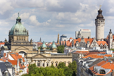 Cityscape with Federal Administrative Court and New Town Hall, Leipzig, Saxony, Germany