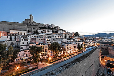 Sunset over the old town and fortress, Dalt vila, Ibiza, Balearic Islands, Spain