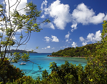 View over the bay, Anse Petit Cour, Praslin, Seychelles, Indian Ocean