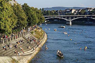 Rhine River in the Summer, Basel, Switzerland