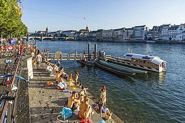 Rhine River in Summer, Basel, Switzerland