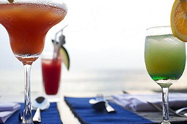 Cocktails at sunset, bar with seaview, Hotel Jetwing Lighthouse, Southwest coast, Sri Lanka