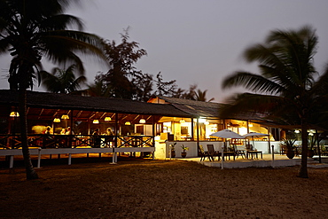 Restaurant and bar of a hotel at beach, Grand-Popo, Mono Department, Benin