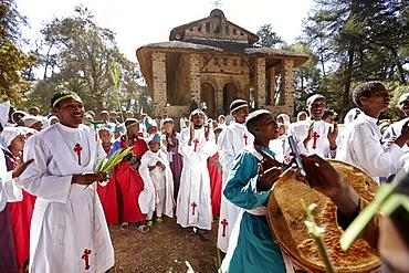 Members of convent school celebrating, Debre Berhan Selassie, Gondar, Amhara region, Ethiopia