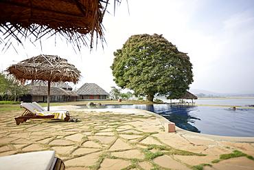 Pool and restaurant of a lodge, Kabini Reservoir, Nagarhole National Park, Park, India