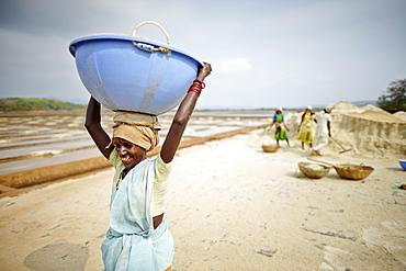 Women working at a salt mine, Grama Panchayat lagune, Gokarna, Karnataka, India