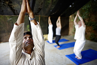 Yoga course in the morning in a hotel, Gokarna, Karnataka, India