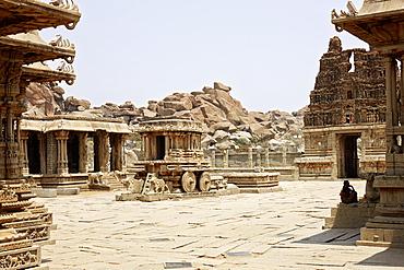 The stone chariot at Vittala complex, Hampi, Karnataka, India