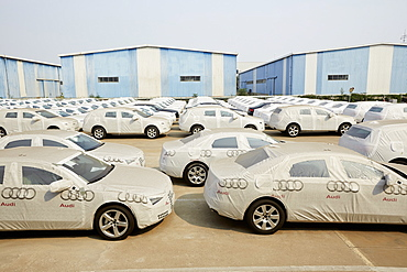 Limousines ready for despatch at Tianjin Port, Tianjin, China