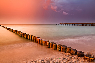Groynes on the beach in the evening, Zingst, Darss, Baltic Sea, Mecklenburg-Vorpommern, Germany
