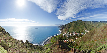 view from Igueste de San Andres to Santa Cruz and Teide mountain, Las Montanas de Anaga, natural preserve, Parque Rural de Anaga, coastline, Atlantic ocean, Tenerife, Canary Islands, Spain, Europe
