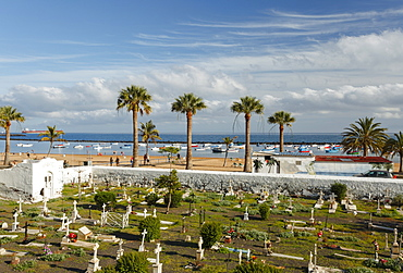 Ancient cementery with beach and palm trees in the background, Playa de las Teresitas, near San Andres, coast, Atlantic ocean, Tenerife, Canary Islands, Spain, Europe