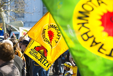 Demonstration against nuclear power in front of the atomic power plant in Fessenheim, Fessenheim, Alsace, France