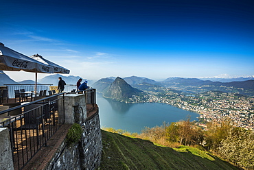 Panoramic view, Monte Bre, Lugano, Lake Lugano, canton of Ticino, Switzerland