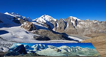 View towards the Bernina Alps with Bellavista (3922 m), Piz Bernina (4049 m), Piz Morteratsch (3751 m) as well as Pers- and Mort