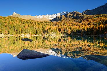 Lake Saoseo (2028 m) with Scima di Saoseo (3264 m), Valposchiavo, Grisons, Switzerland