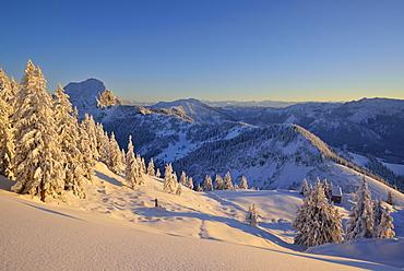 Winter mountain scenery, Breitenstein, Mangfall Mountains, Bavarian Prealps, Upper Bavaria, Bavaria, Germany