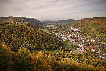 View to Bad Urach and ruin, Swabian Alp, Baden-Wuerttemberg, Germany