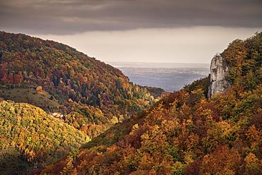 Surrounding view of Lichtenstein castle in autumn, Swabian Alp, Baden-Wuerttemberg, Germany