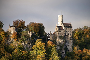 View of Lichtenstein castle in autumn, Swabian Alp, Baden-Wuerttemberg, Germany
