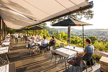 Guests on terrace of a cafe, Pfullingen, Baden-Wurttemberg, Germany