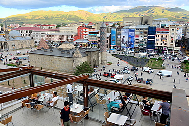 View from a cafe in Erzurum at Yakutiye Medrese, East Anatolia, East Turkey, Turkey