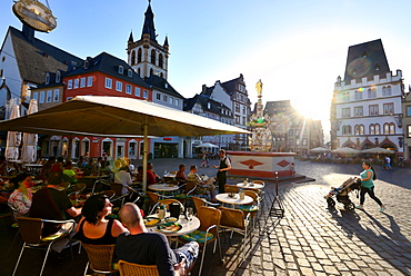 Cafe on the market square in Trier on the river Mosel, Rhineland-Palatinate, Germany