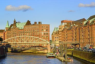 Warehouse district in Hamburg with Kibbelstegbruecke bridge, Warehouse district, Speicherstadt, Hamburg, Germany